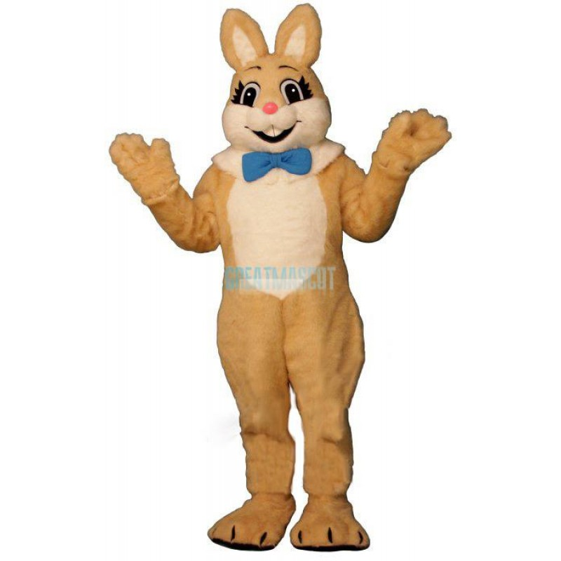 Tan Raleigh Rabbit w-Bow & Fur Colla Lightweight Mascot Costume