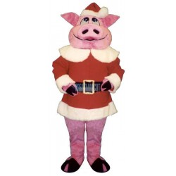 Hog w- Santa Coat & Hat Lightweight Mascot Costume