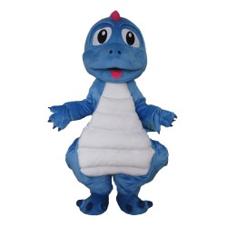 Cartoon So Lovely Blue & White Dinosaur Baby Mascot Costume