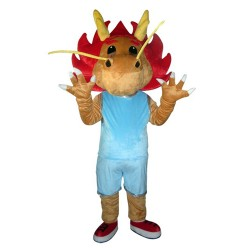 Adult Cartoon Brown Dragon With Blue Suit Mascot Costume