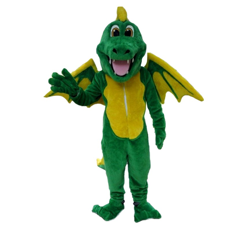 Hot Like Smiling Green & Yellow Dinosaur With Wings Mascot Costume
