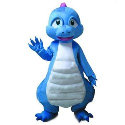Cartoon Fancy Adult Blue & White Dinosaur Mascot Costume