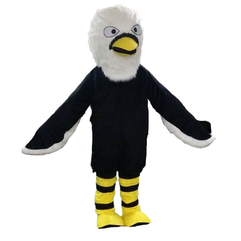 Adult Size Fancy Black Eagle Mascot Costume