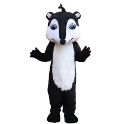 Super Cute Smiling Black & White Fox Mascot Costume