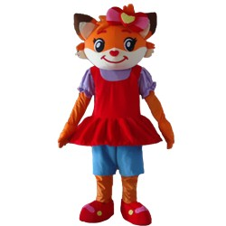 Top Sale Fancy Cute Smiling Fox With Red Dress Mascot Costume