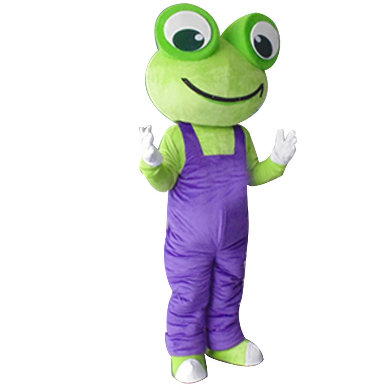 Top Quality Adult Size Frog With Purple Rompers Mascot Costume