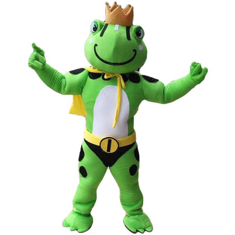 High Quality Strong Crown Frog With Yellow Cloak Mascot Costume