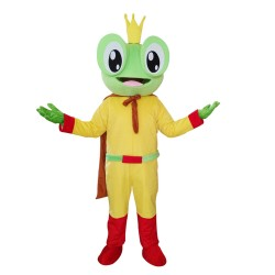 New Kind Happy Yellow Frog With Red Cloak Mascot Costume