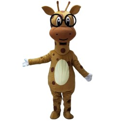New Funny Super Cute Giraffe With Glasses Mascot Costume