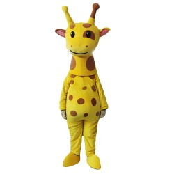Free Shipping Cute Plush Yellow Giraffe Mascot Costume