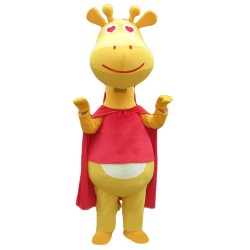 New Kind Smiling Yellow Giraffe With Red Cloak Mascot Costume