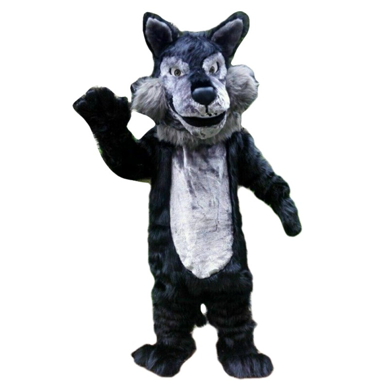 Fancy Cartoon Black Wolf Mascot Costume For Adult