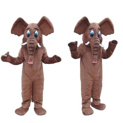 Unisex Plush Brown Elephant Mascot Costume For Party