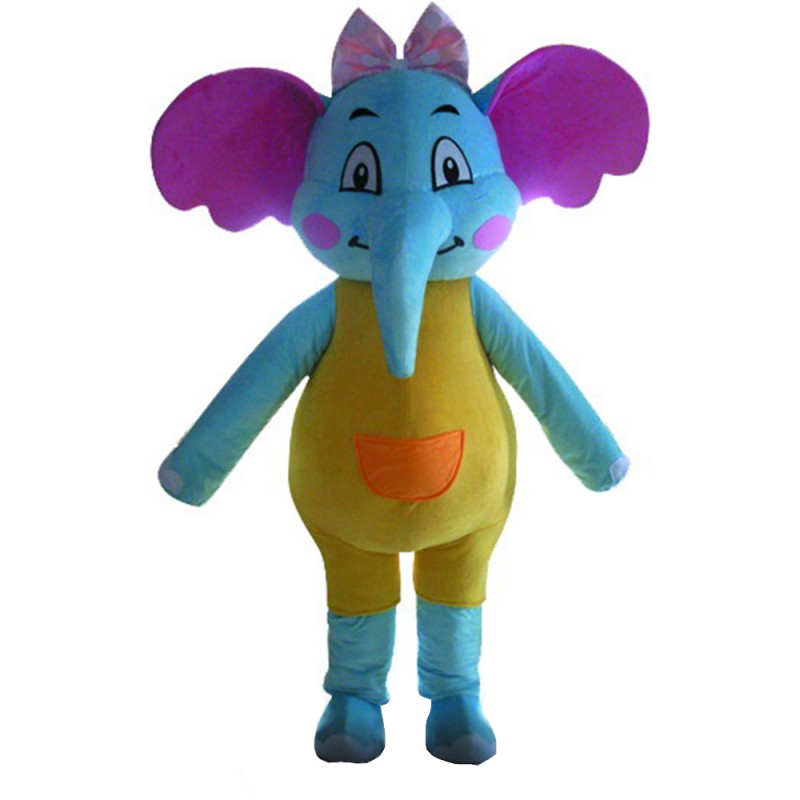 Newest Lovely Cartoon Blue Elephant With Yellow Clothes Mascot Costume