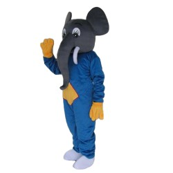 Adult Size Friendly Elephant With Blue Top Mascot Costume
