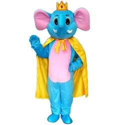 Good Quality Lovely Cartoon Blue Elephant With Yellow Cloak Mascot Costume