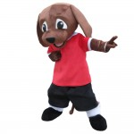 Unisex Super Cute Brown Dog With Red Top Mascot Costume