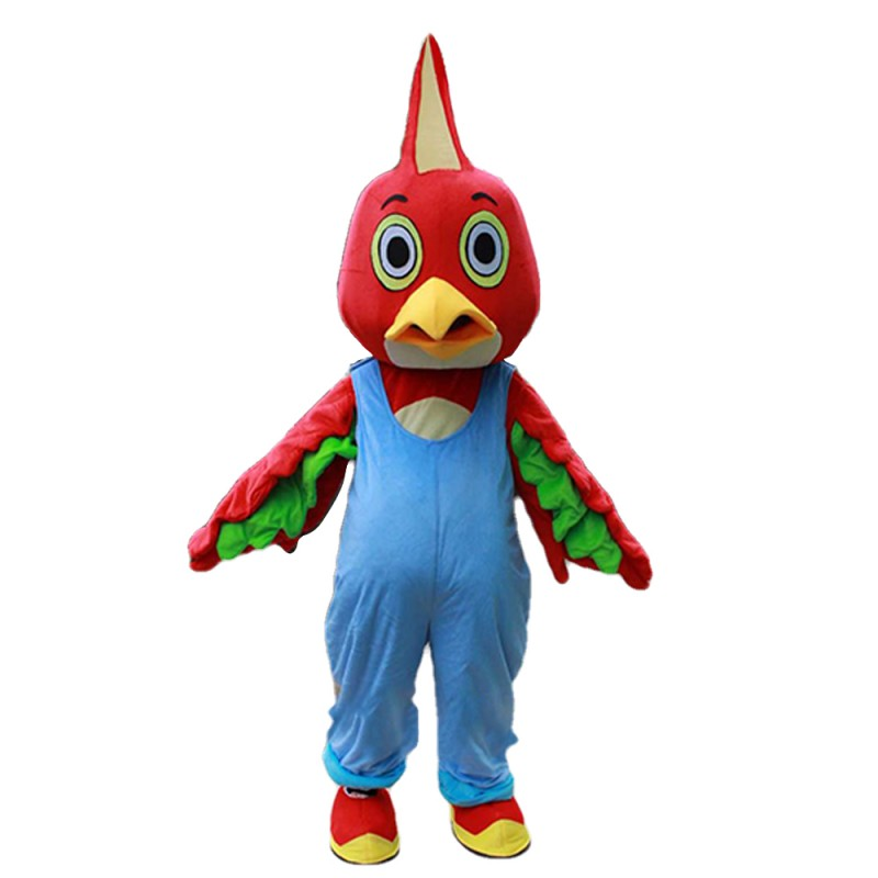 Lovely Plush Furry Red Chicken With Blue Rompers Mascot Costume