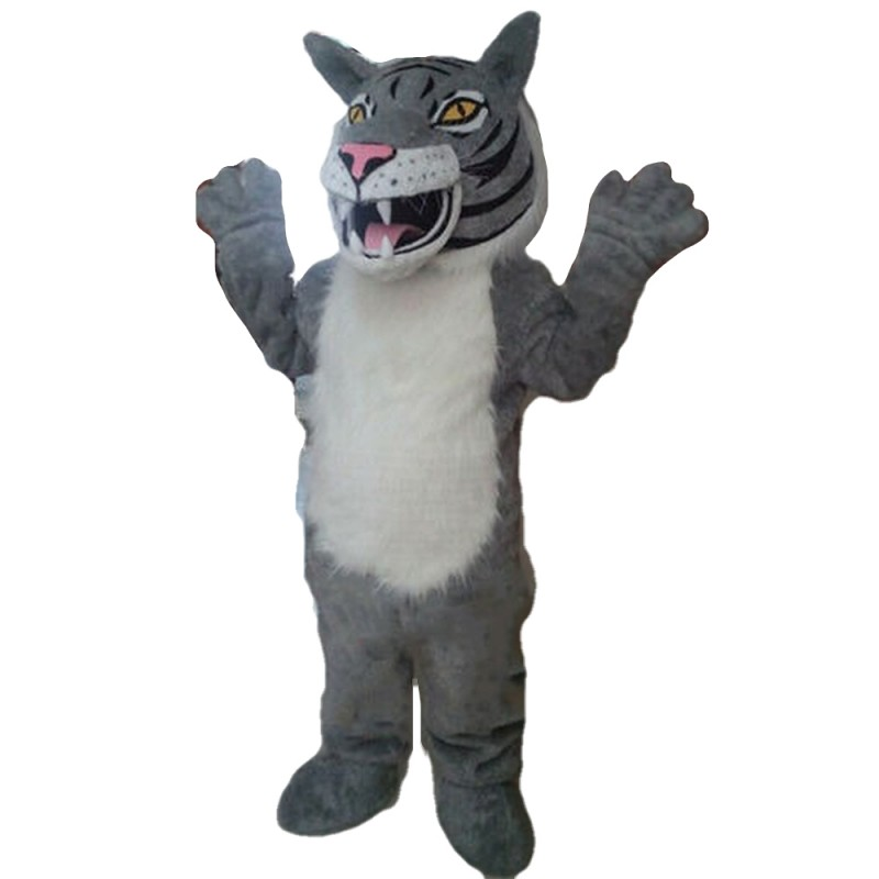 Top Quality Fierce Grey & White Tiger Mascot Costume
