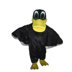 Adult Size Long Fur Black Duck Mascot Costume