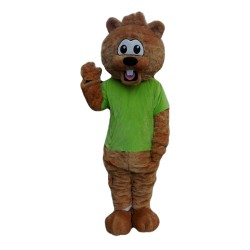 Adult Pleasant Beaver With Green Top Mascot Costume