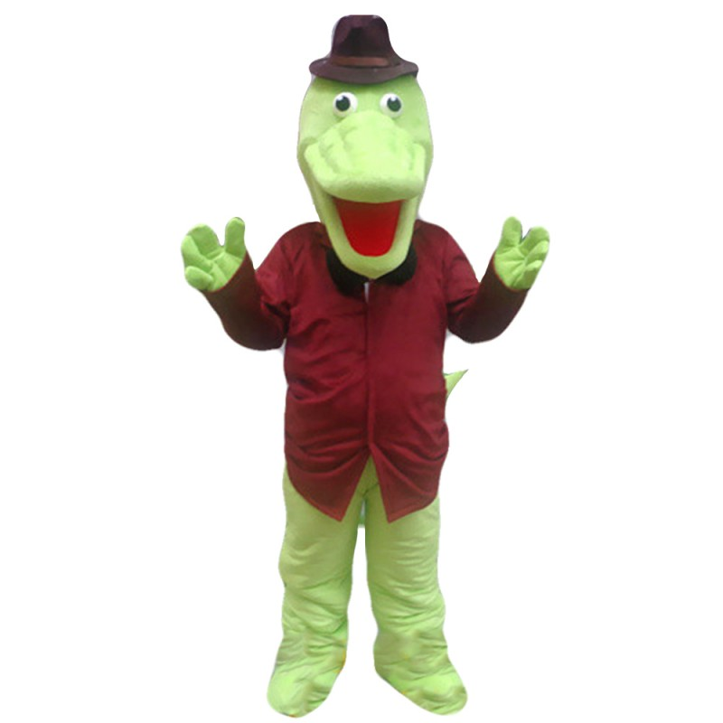 Cartoon Gentleman Crocodile With Brown Top Mascot Costume