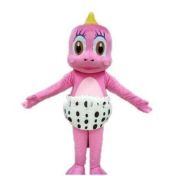 Super Cute Pink Blue Baby Dinosaur With Diaper Mascot Costume