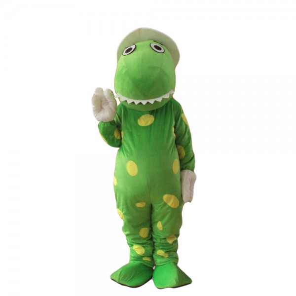 Polite Green Dinosaur With White Hat And Gloves Mascot Costume
