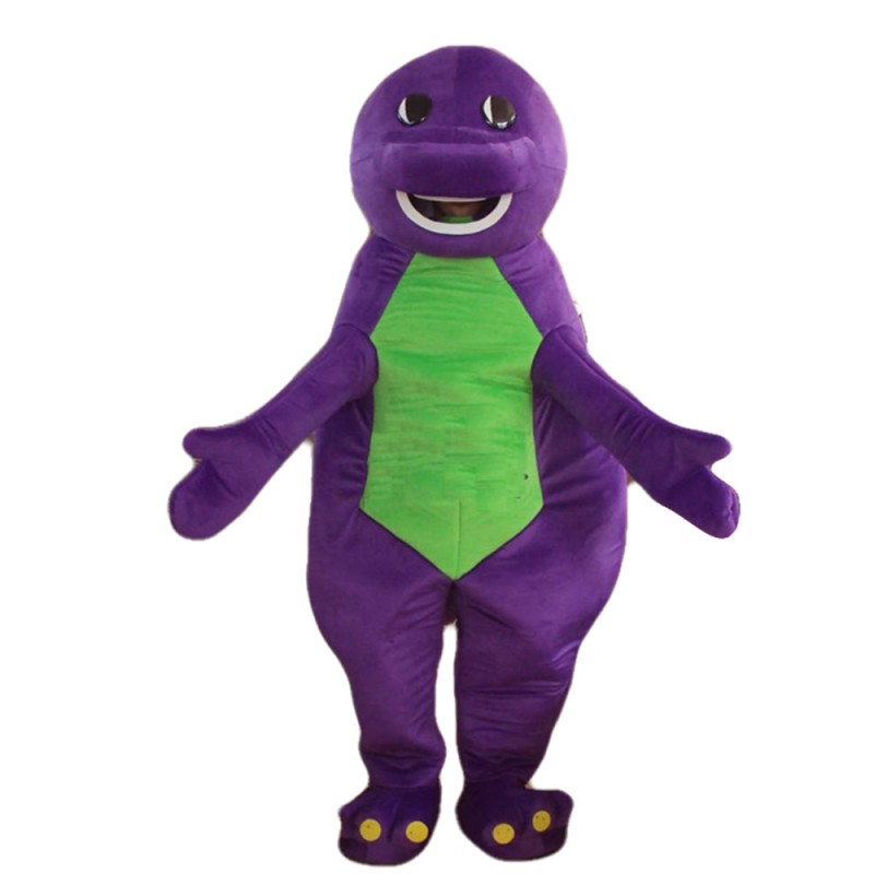 Cute Cartoon Purple & Green Dinosaur Mascot Costume