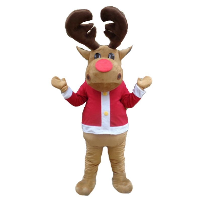 Fancy Elk With Red Top Mascot Costume For Christmas Party