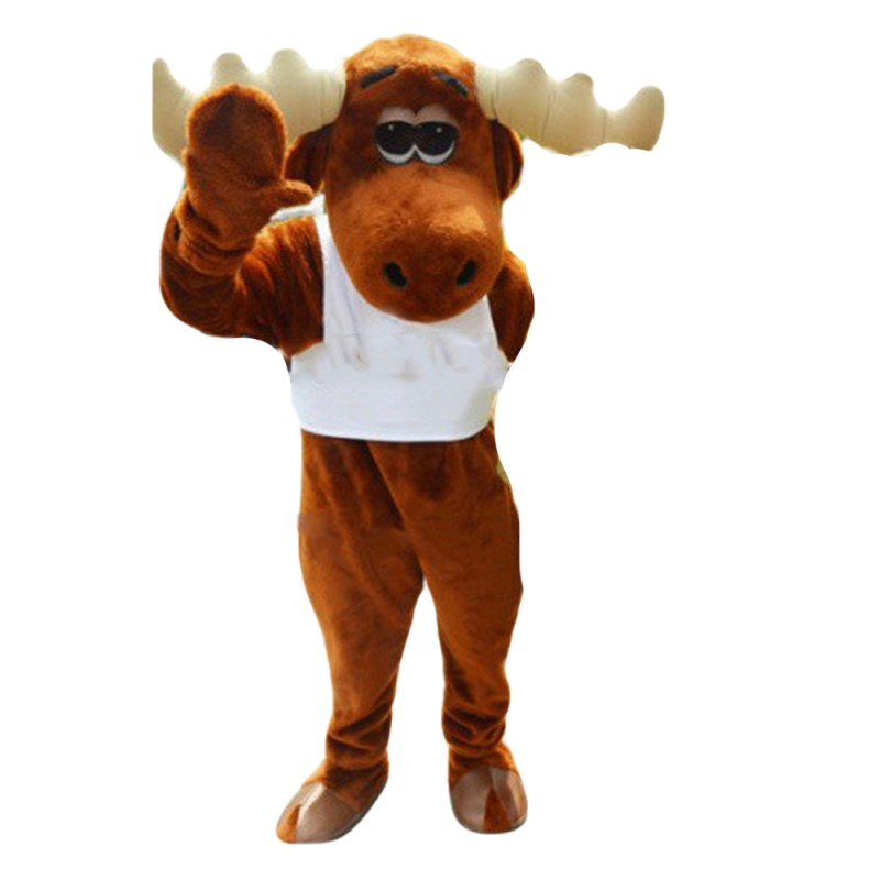 Hot Sale Friendly Moose With White Vest Mascot Costume