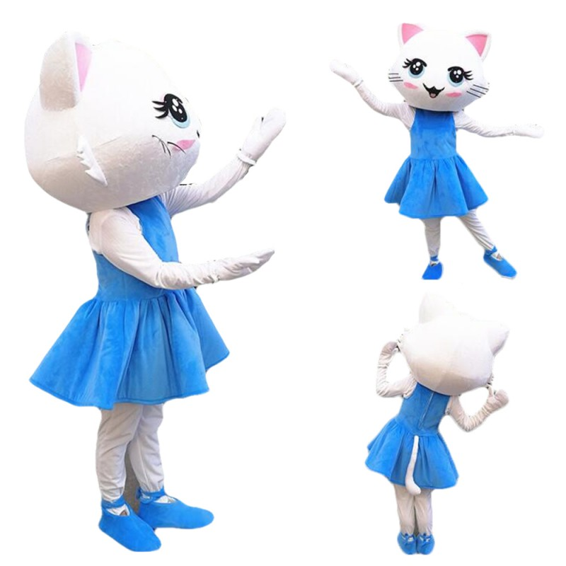 Super Cute Dancing White Cat With Blue Dress Mascot Costume