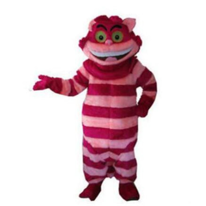 Plush Big Mouth Pink Striped Cat Mascot Costume