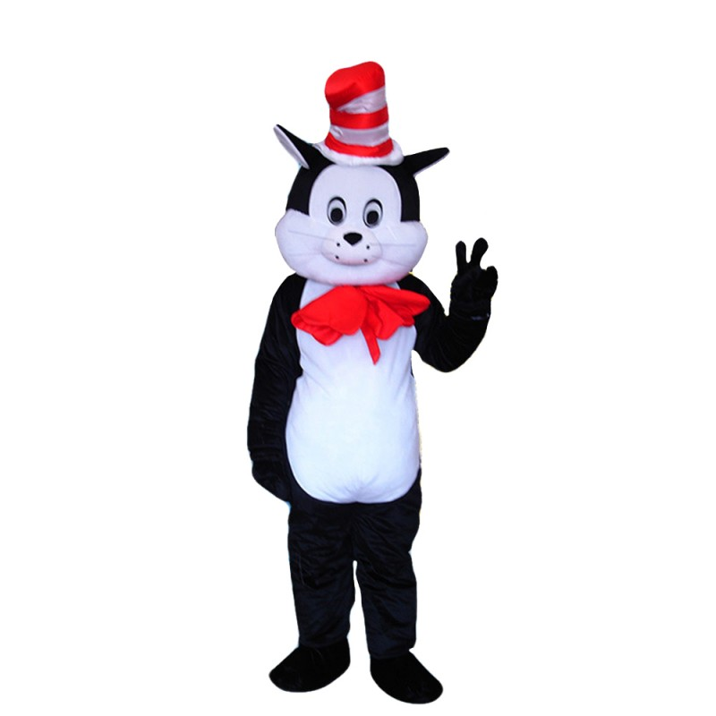 Polite Black & White Cat With Red Tie And Hat Mascot Costume