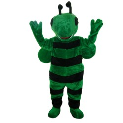 Strong Cartoon Green Bee Mascot Costume
