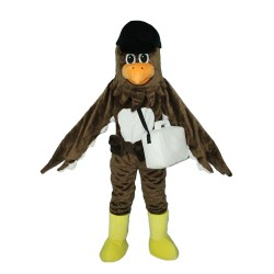 Plush Brown Bird With Shoes And Bag Mascot Costume