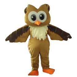 Cartoon Big Eyes Brown Owl Mascot Costume