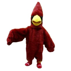Long Wool Pointed Red Bird Mascot Costume