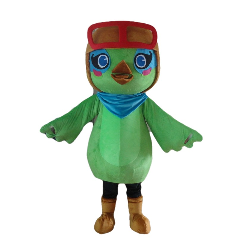 New Arrival Cartoon Green Bird With Berets Mascot Costume