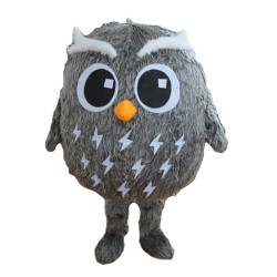 Cute Cartoon Grey Owl Mascot Costume