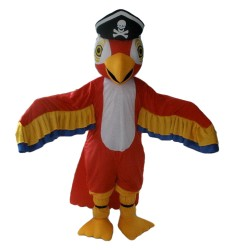 Hot Selling Red & White Bird With Skull Cap Mascot Costume
