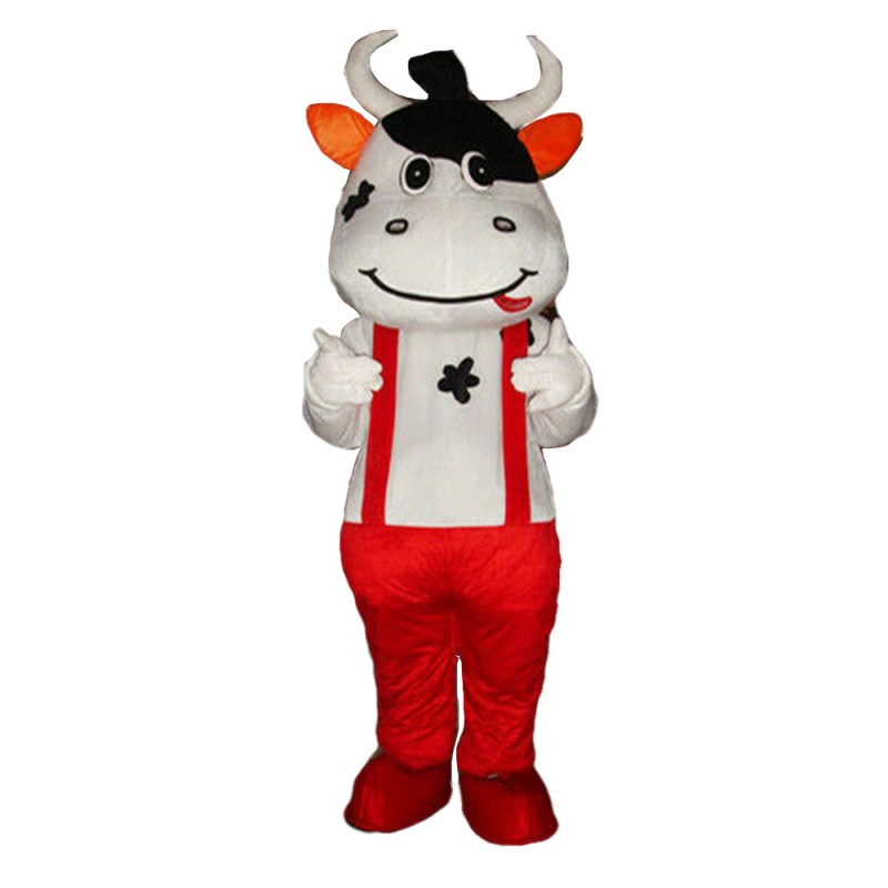 New Style Naughty Cow With Overalls Mascot Costume
