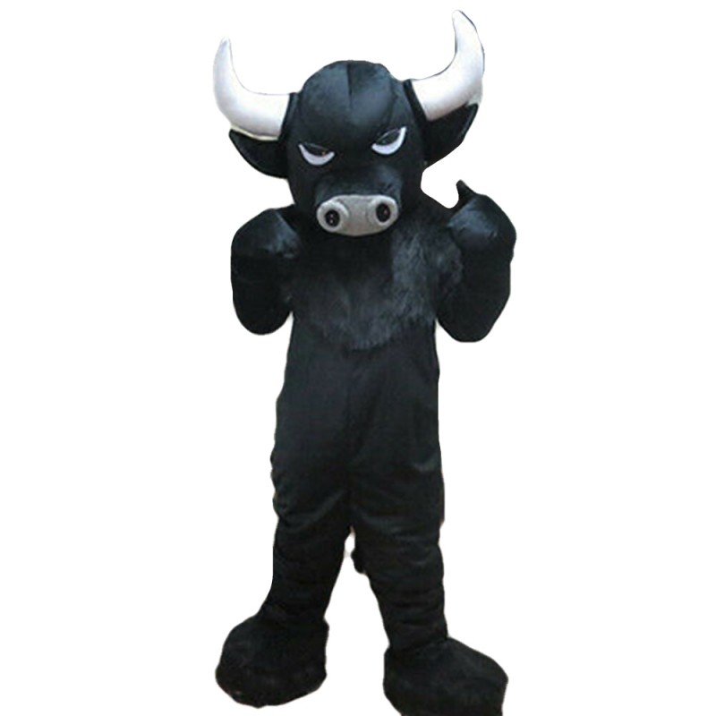 Adult Black Bull With Fierce Face Mascot Costume