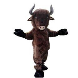 Fancy Long Fur Brown Bull Mascot Costume