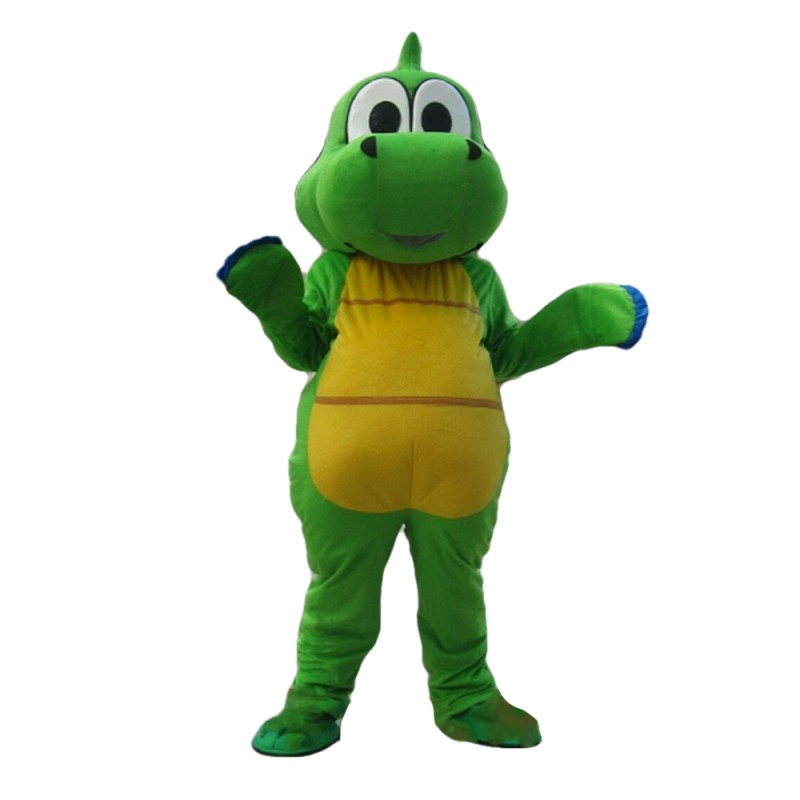Cute Cartoon Green & Yellow Dinosaur Mascot Costume