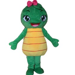 Lovely Cartoon Turtle With Pink Bow Mascot Costume