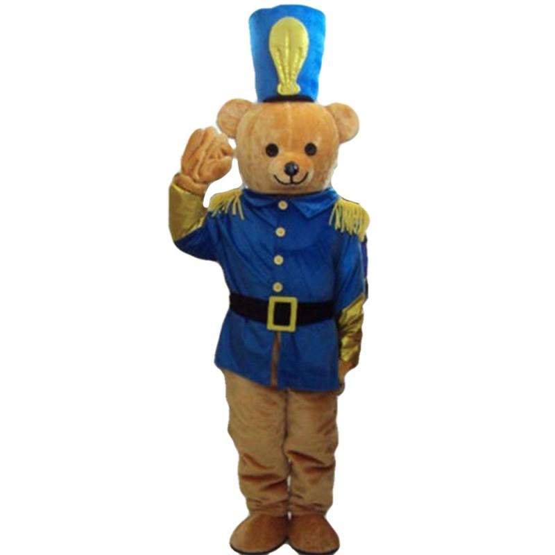 Polite Soldier Bear With Blue Uniform Mascot Costume