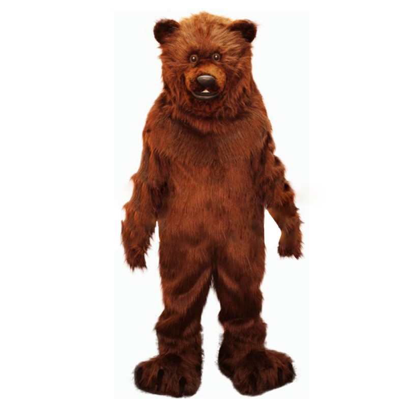 Fierce Long Fur Brown Bear Mascot Costume