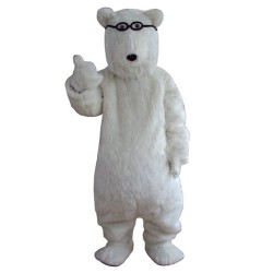 Smart Long Fur White Bear Mascot Costume