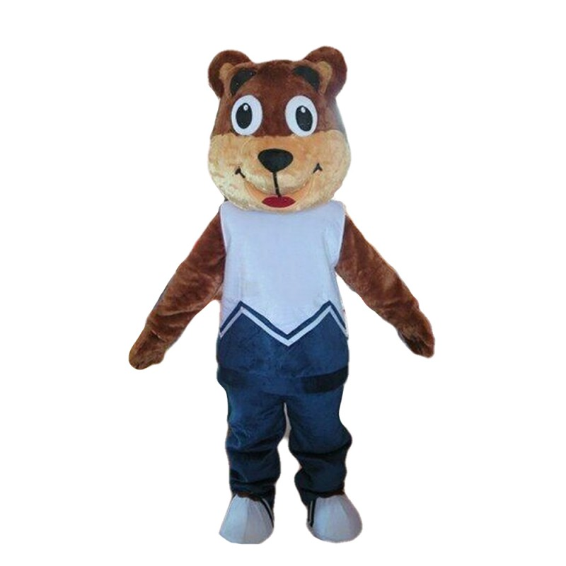 Funny Cartoon Brown Bear With Sports Suit Mascot Costume
